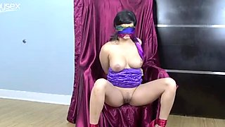 Tied up and blindfolded Sunny Leone flashes her pussy and boobies