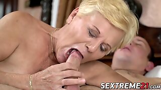 Naughtiest granny Lili wanks off before big cock insetion