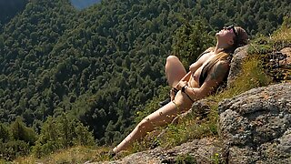 Extreme Masturbation High in the Mountains