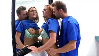 Horny hospital interns get caught fucking