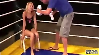 Wrestling blonde knockouted in wild threesome