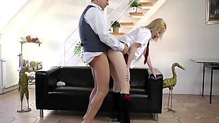 Blonde schoolgirl pleasing his old nob