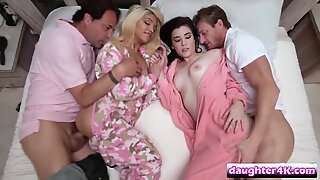 Naughty college girlfriends naked flawless ass spooned by their fat cock step father