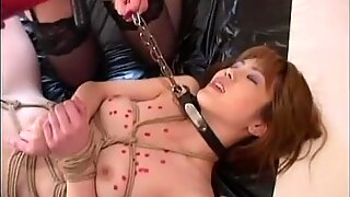 Asian bitch is tied up and waxed up hard