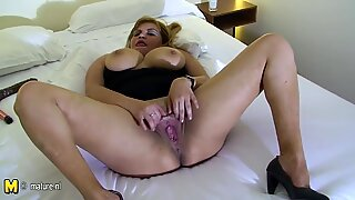 Chubby mother playing with her tits and pussy