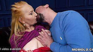 Big belly mature takes a big dick