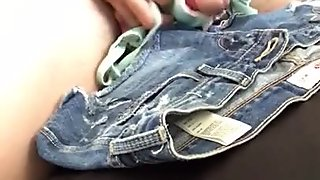 Using cute bra and jean shorts multiple cum