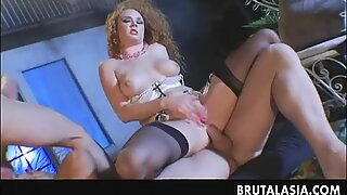 Delicious Asian gal in a raunchy 4some