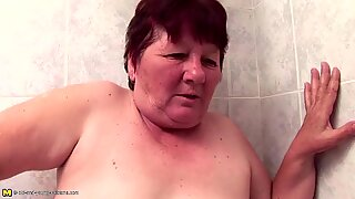 Hairy granny fucks hairy girls with peeing
