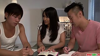 Exclusive threesome at home - More at Japanesemamas.com