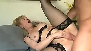 Busty blonde momma in black underwear gets her nookie drilled