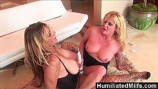HumiliatedMilfs - Femdom Debi Diamond Fucks Ginger Lynn With Her Foot