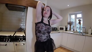 Sexy striptease in pantyhose