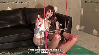 Japanese Femdom Candle in Anal and Wax on Dick