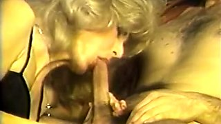 Sizzling blonde MILF sucks dicks and gets banged in threesome