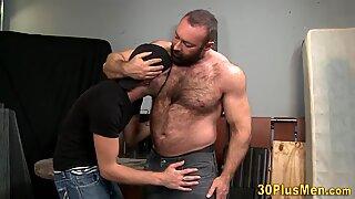 Gay bear gives blowjob