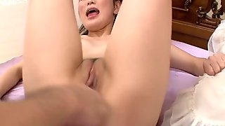 Hussy oriental  girl TOMOKA SAKURAI gets her pussy fingerfucked
