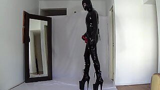 Latex boots heels ready for a party