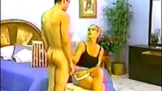 Boyfrend spanked in pants by super sexy golden-haired!