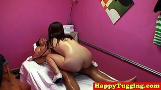 Asian massage babe cocksucking on spycam