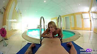 Blonde teen Violette wild VR poolside fucking