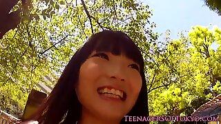 Pickedup asian teen giving handjobs in group