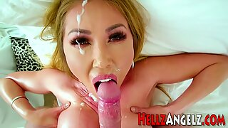 Busty asian ho sucks dick