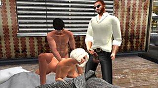 Virtuelsexe - Fred Adjani se branle devant un couple entrain de baiser