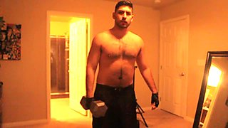 Don Stone Working Out (Hairy Chest Latino) 1