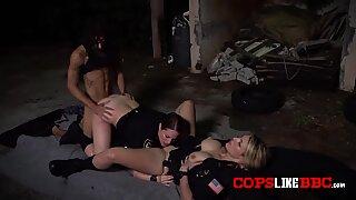 Milf cops take advantage of car thiefs big cock at parking lot
