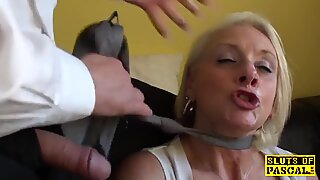 Facefucked brit grandma fingered in her butt