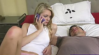 Blonde hottie Alli Rae fucks her sleepwalking stepbrother