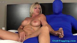 Handjob mature teasing her submissive lover