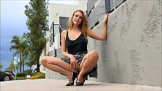 Cosima outside blonde mature hard finger