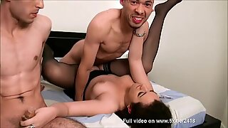 French student Deoborah fucked in a threesome