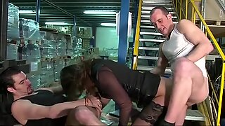 Boss woman fucked in a threesome with her workers