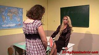 Mature femdom punishing a schoolgirl