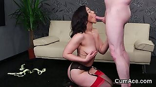 Feisty sex kitten gets jizz load on her face swallowing all the cum