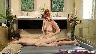 Busty masseuse screwing
