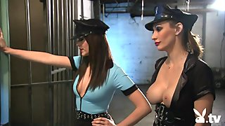Two nasty sluts foursome in the jailcell