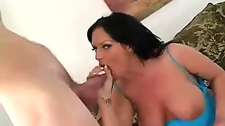 Horny slut with melons gets her pierced muff nailed doggy style