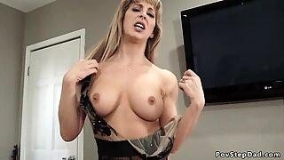 Slutty busty Milf bangs big cock husband