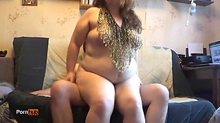 BBW Tanya Mellow riding both face and cock