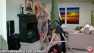 Julia Ann is sucking my strapped up boyfriend