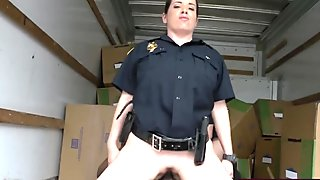 Duo of busty cops abusing black smuggler in truck
