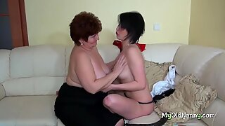 Threesome with the BBW granny