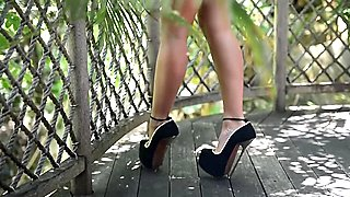 Julie skyhigh tease in her extreme sexy high heels dangling & bikini