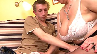 Breasty bushy mother receives screwed hard and squirts