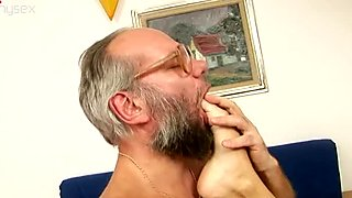 Brunette sexpot gets her pussy fucked hard by an old fart