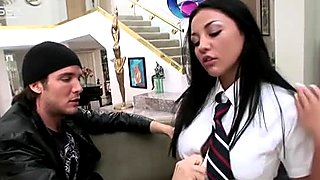 Talkative brunette Audrey Bitoni lets dude suck her titties and tickle pussy